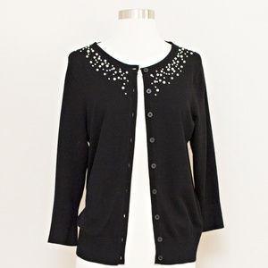 Roz & Ali Black Pearl Embellished Sweater M